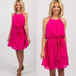 Pinkblush Fuchsia Chiffon Scalloped Sash Tie Dress